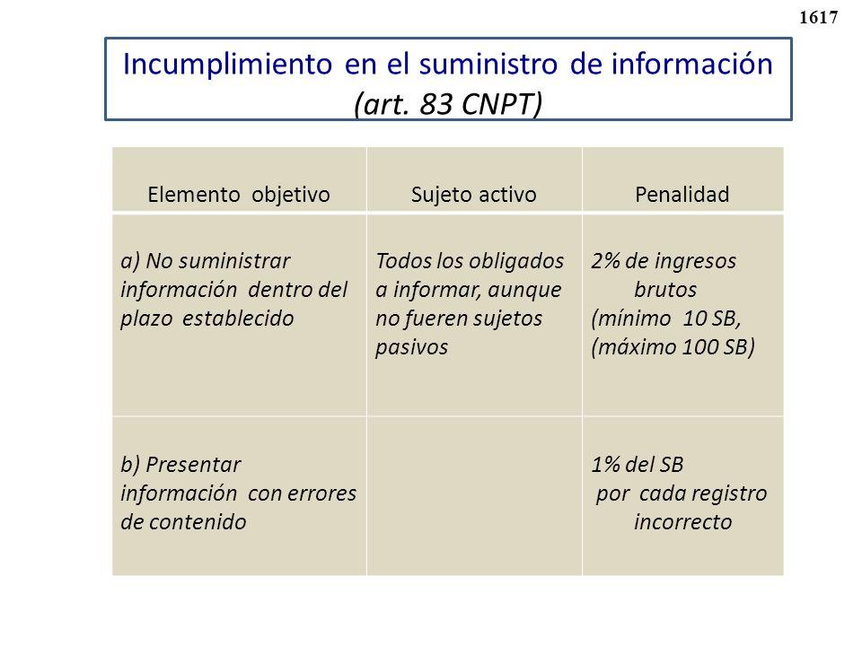 Incumplimiento en el suministro de información (art. 83 CNPT)