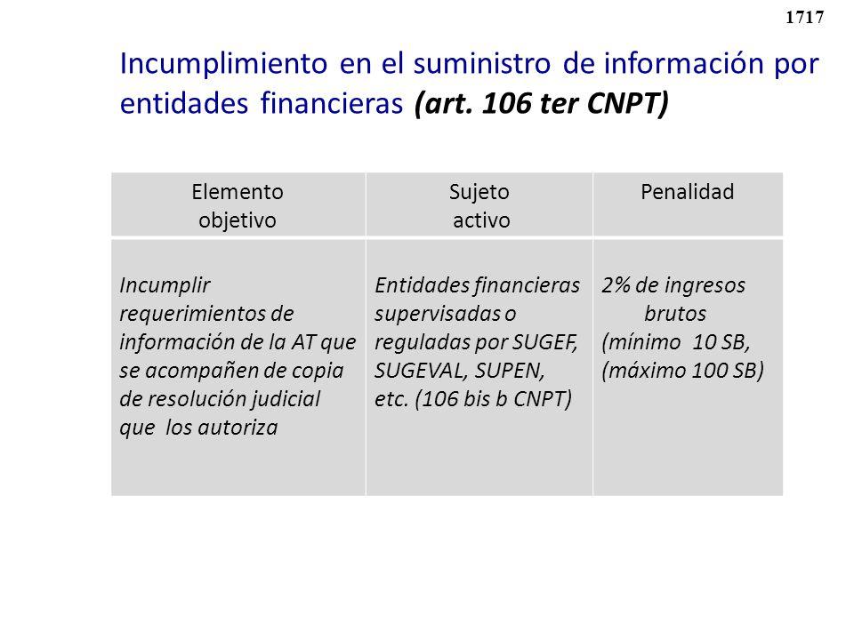 1717 Incumplimiento en el suministro de información por entidades financieras (art. 106 ter CNPT) Elemento.