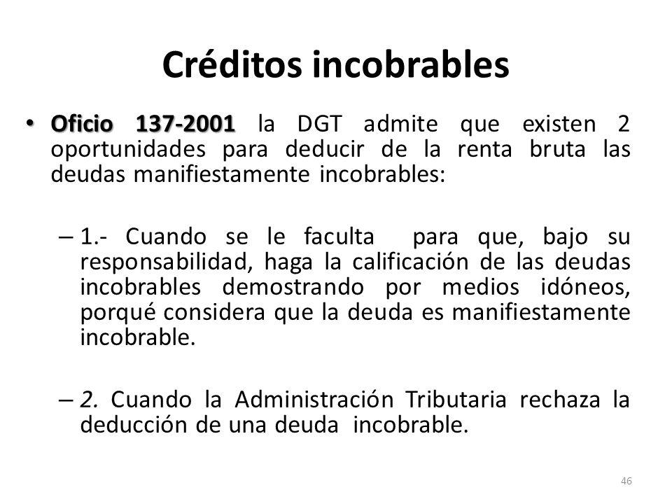 Créditos incobrablesOficio 137-2001 la DGT admite que existen 2 oportunidades para deducir de la renta bruta las deudas manifiestamente incobrables: