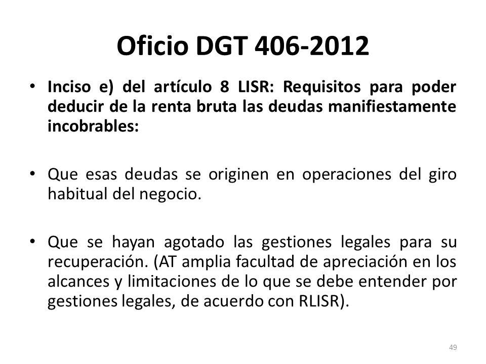 Oficio DGT 406-2012Inciso e) del artículo 8 LISR: Requisitos para poder deducir de la renta bruta las deudas manifiestamente incobrables: