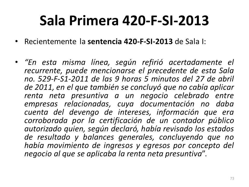 Sala Primera 420-F-SI-2013 Recientemente la sentencia 420-F-SI-2013 de Sala I: