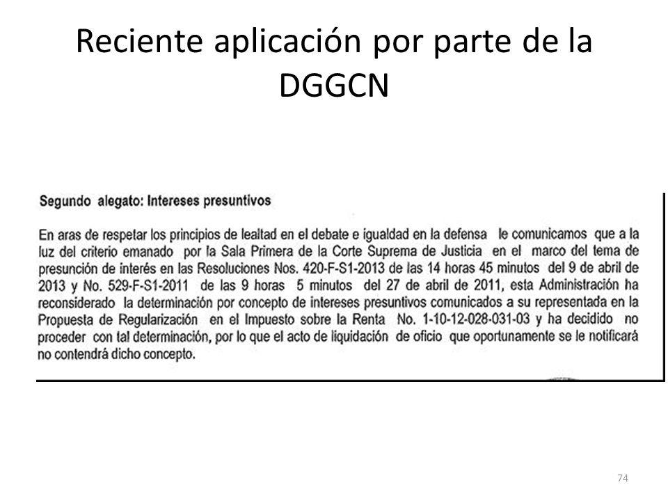 Reciente aplicación por parte de la DGGCN
