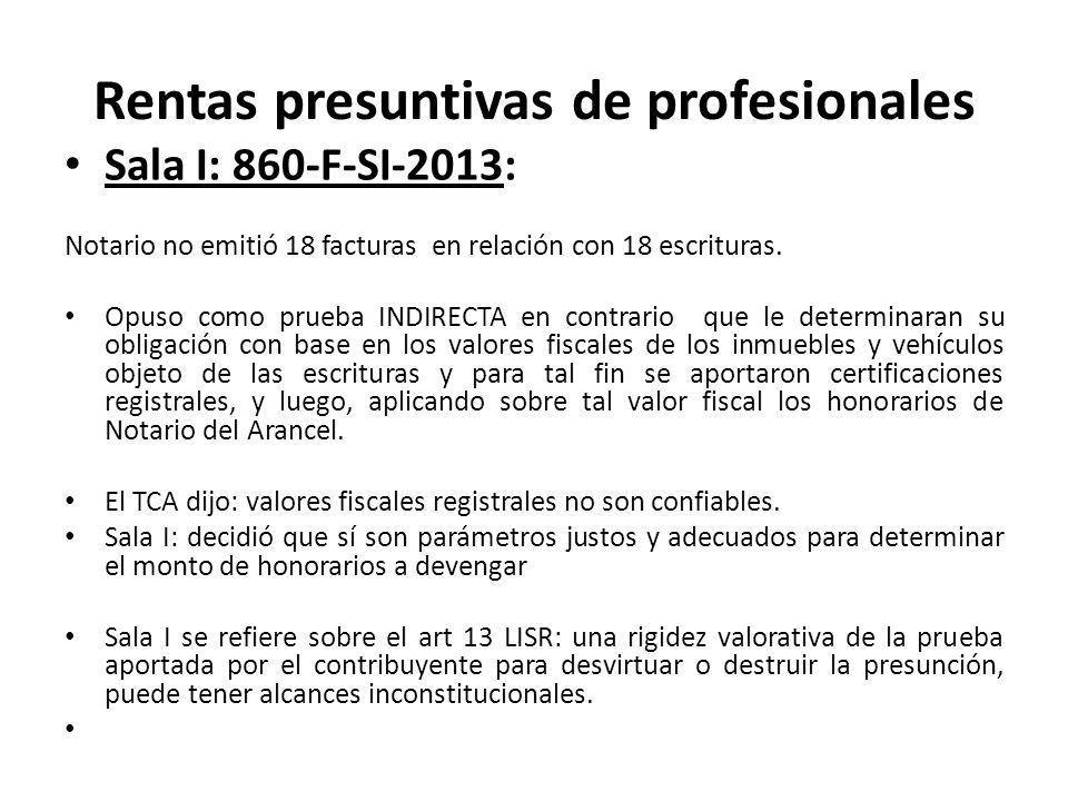 Rentas presuntivas de profesionales