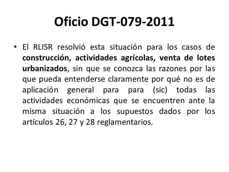 Oficio DGT-079-2011