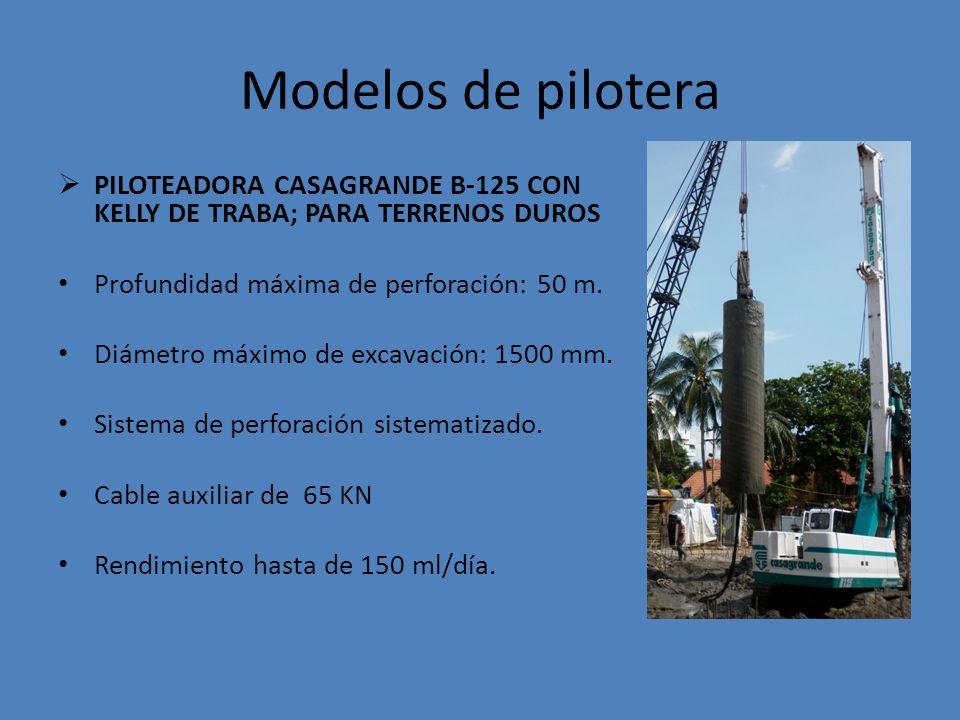 Modelos de pilotera PILOTEADORA CASAGRANDE B-125 CON KELLY DE TRABA; PARA TERRENOS DUROS. Profundidad máxima de perforación: 50 m.