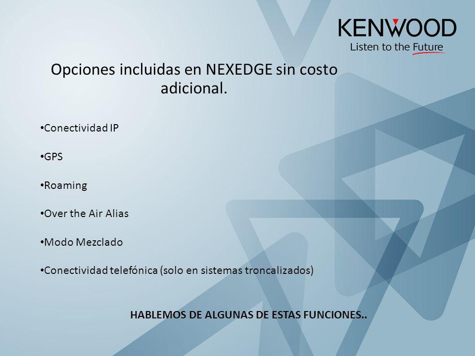 Opciones incluidas en NEXEDGE sin costo adicional.