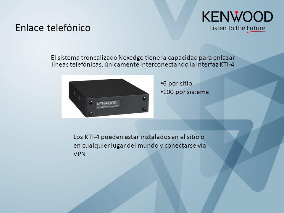 Enlace telefónico El sistema troncalizado Nexedge tiene la capacidad para enlazar líneas telefónicas, únicamente interconectando la interfaz KTI-4.