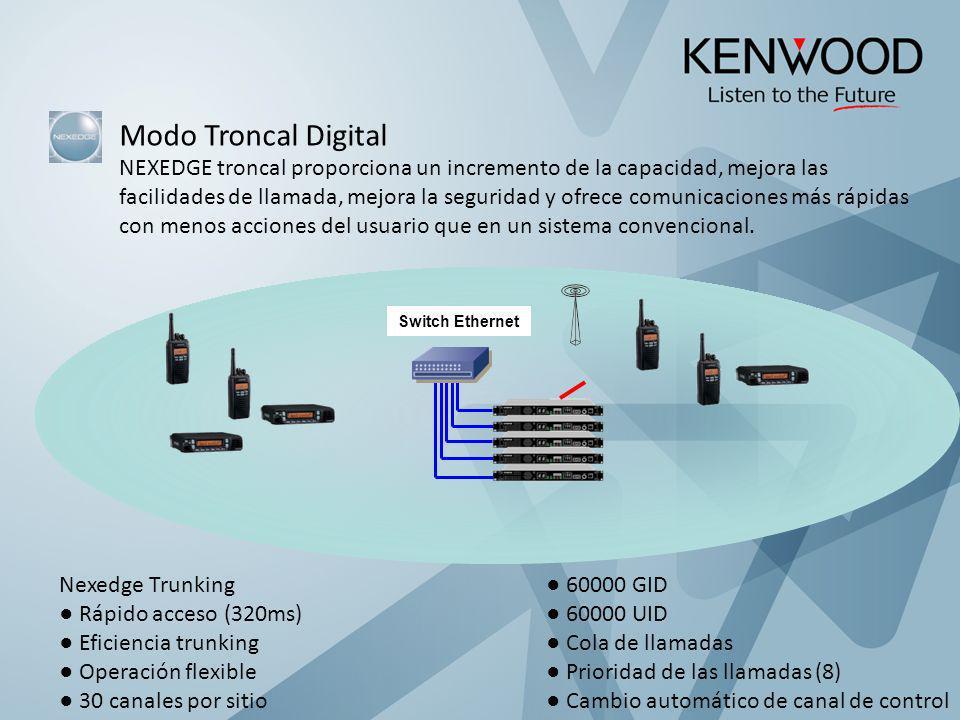 Modo Troncal Digital NEXEDGE troncal proporciona un incremento de la capacidad, mejora las.
