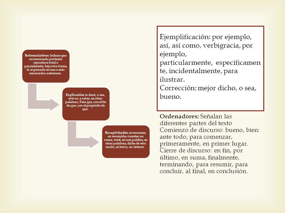 Reformulativos: Indican que un enunciado posterior reproduce total o parcialmente, bajo otra forma, lo expresado en uno o más enunciados anteriores.