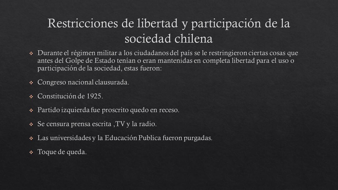 Restricciones de libertad y participación de la sociedad chilena