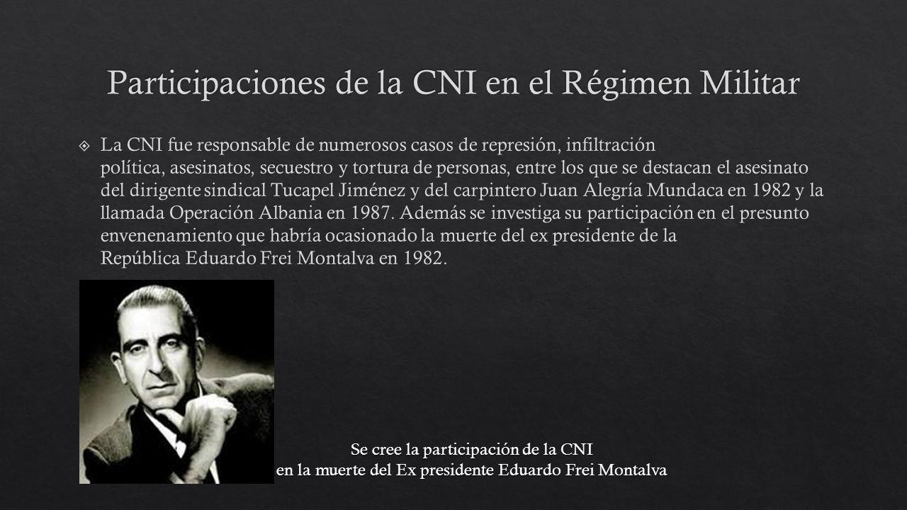 Participaciones de la CNI en el Régimen Militar