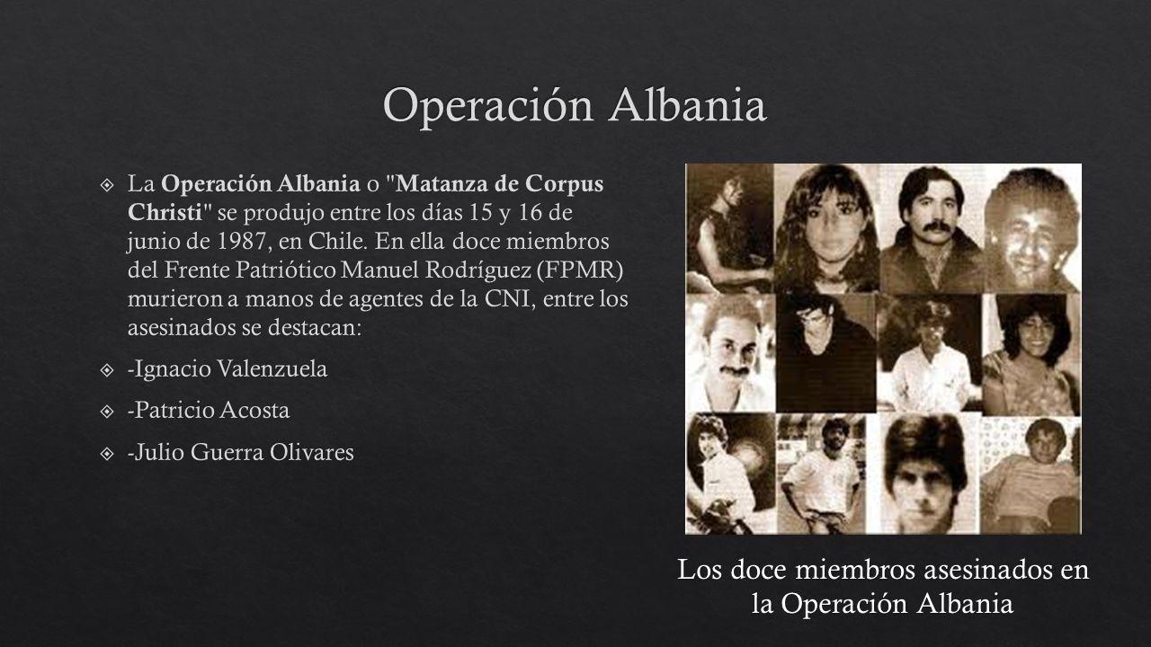 Los doce miembros asesinados en la Operación Albania