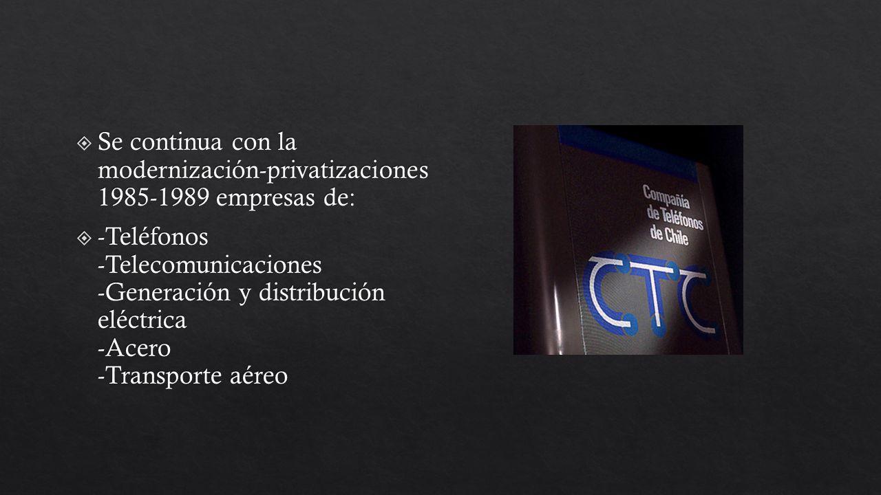 Se continua con la modernización-privatizaciones 1985-1989 empresas de: