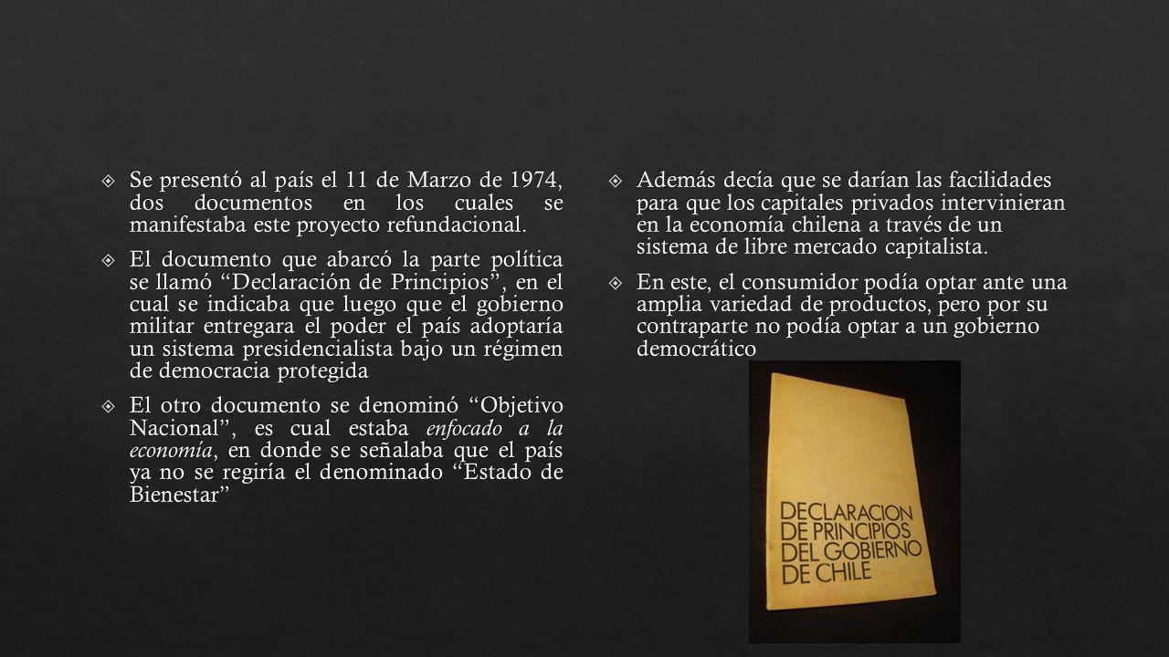 Se presentó al país el 11 de Marzo de 1974, dos documentos en los cuales se manifestaba este proyecto refundacional.