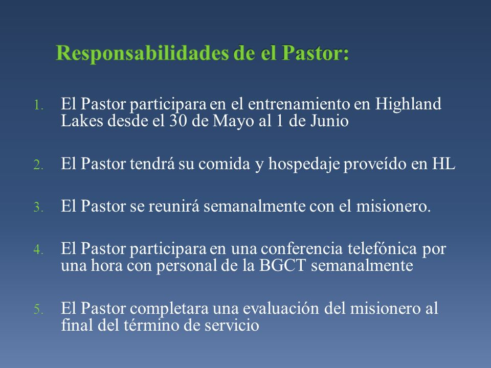 Responsabilidades de el Pastor: