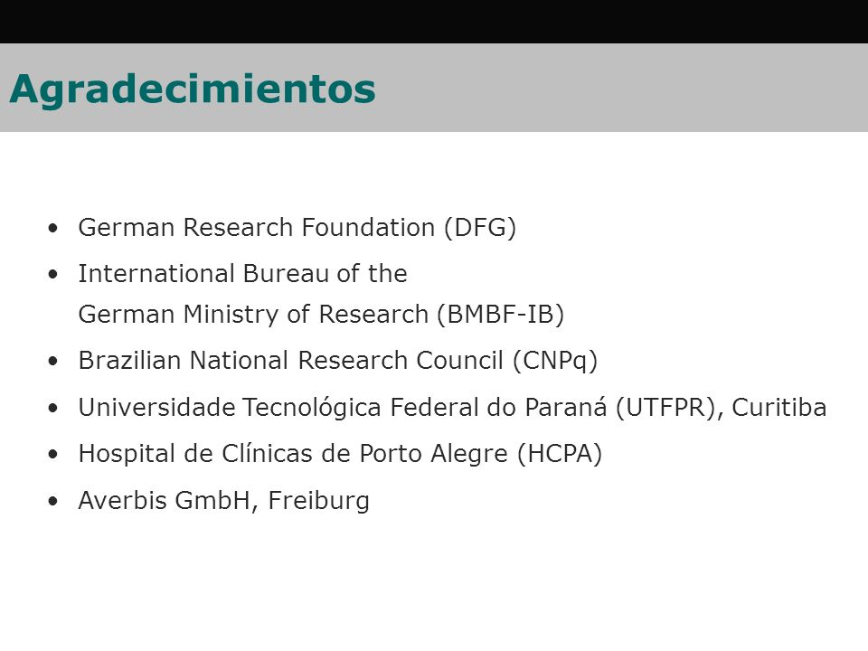 Agradecimientos German Research Foundation (DFG)