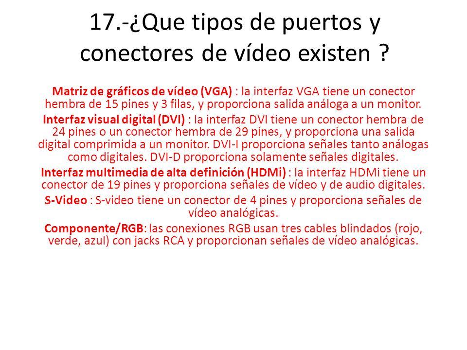 17.-¿Que tipos de puertos y conectores de vídeo existen