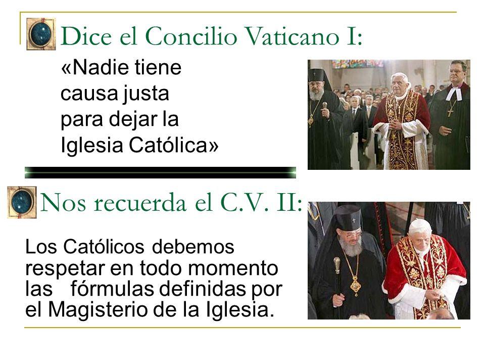 Dice el Concilio Vaticano I:. «Nadie tiene causa justa para