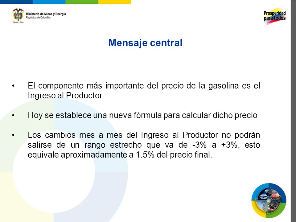 Mensaje central El componente más importante del precio de la gasolina es el Ingreso al Productor.