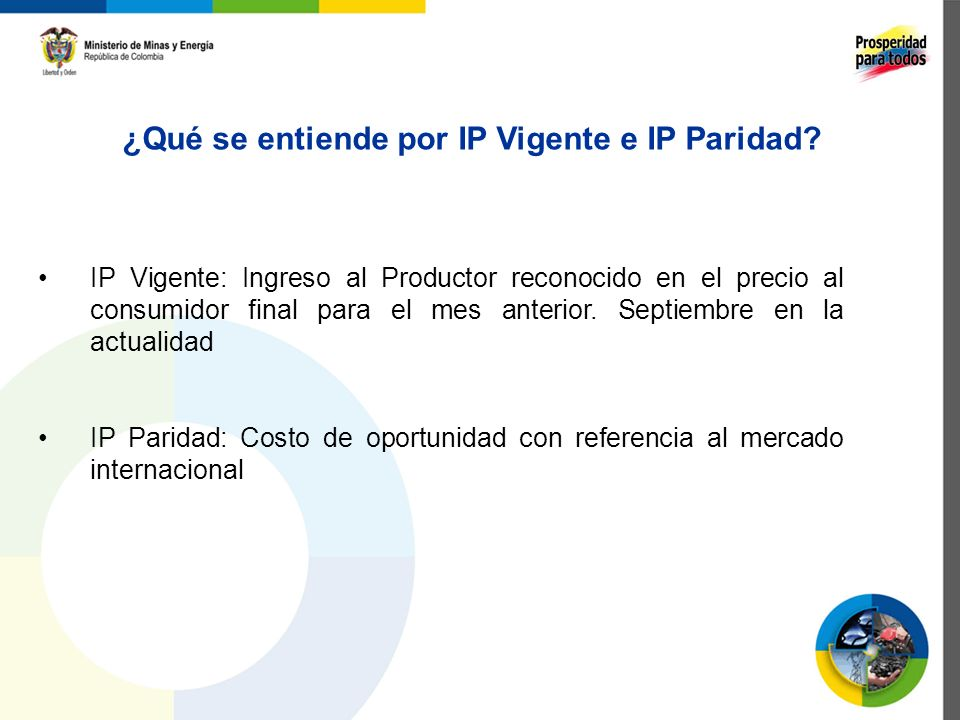 ¿Qué se entiende por IP Vigente e IP Paridad