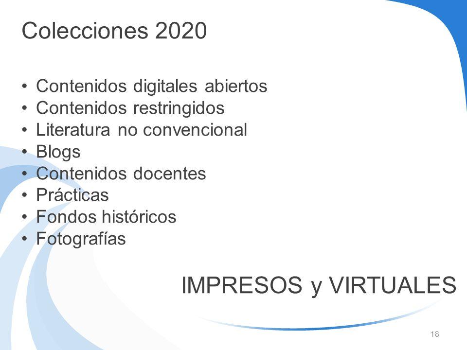 Colecciones 2020 Contenidos digitales abiertos Contenidos restringidos