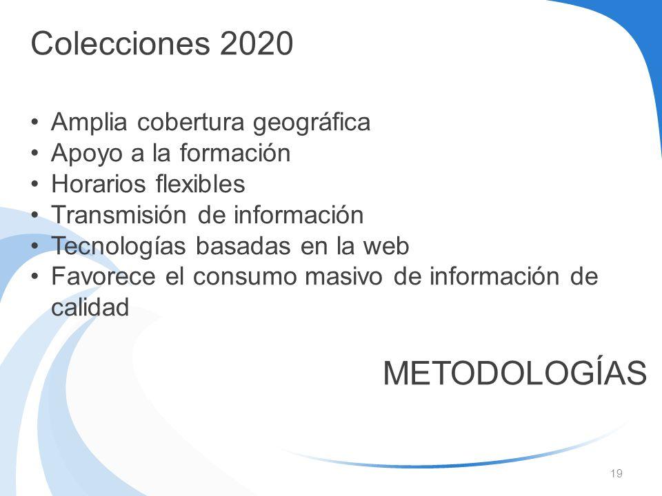 Colecciones 2020 METODOLOGÍAS Amplia cobertura geográfica