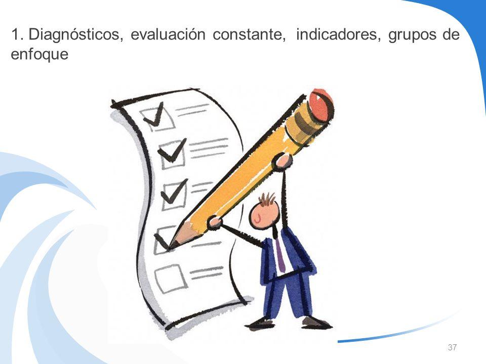 1. Diagnósticos, evaluación constante, indicadores, grupos de enfoque
