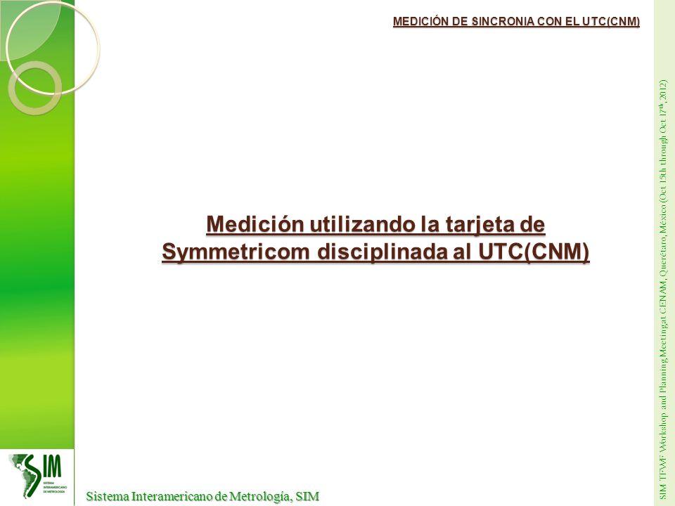Medición utilizando la tarjeta de Symmetricom disciplinada al UTC(CNM)