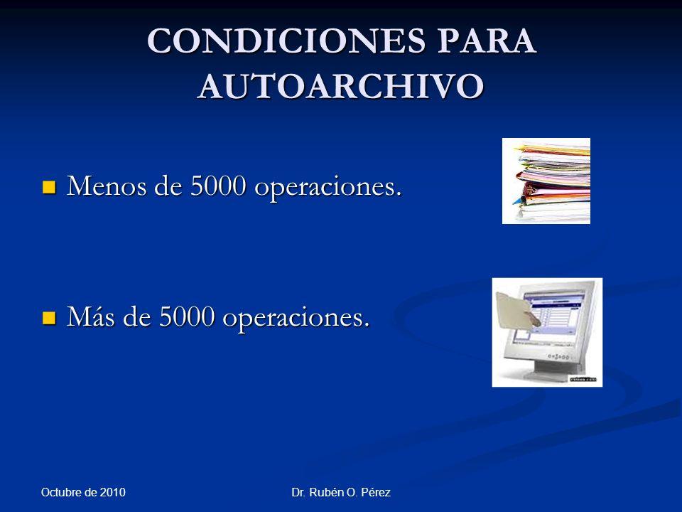 CONDICIONES PARA AUTOARCHIVO