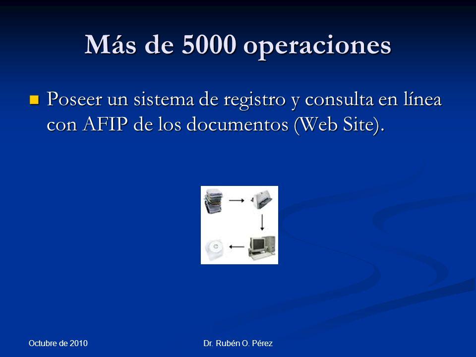 Más de 5000 operaciones Poseer un sistema de registro y consulta en línea con AFIP de los documentos (Web Site).