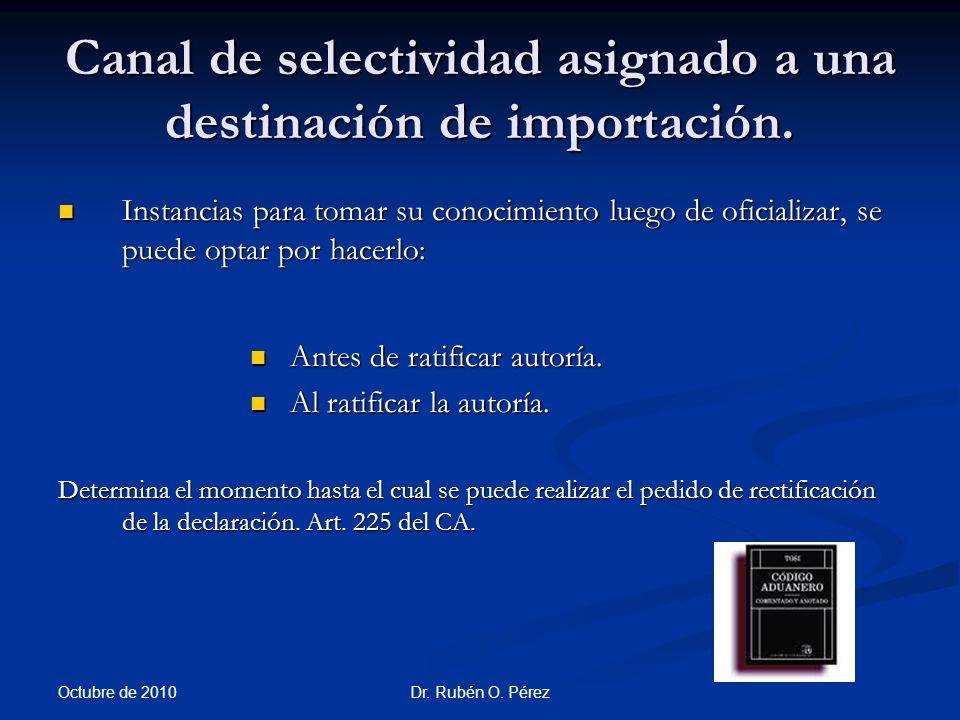Canal de selectividad asignado a una destinación de importación.