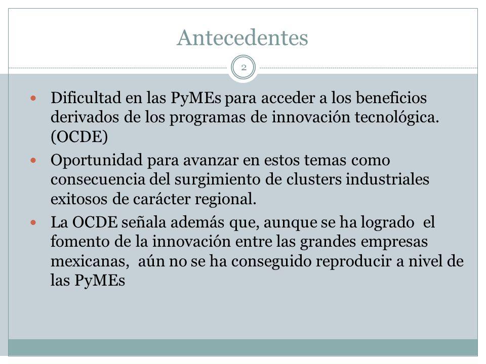 Antecedentes Dificultad en las PyMEs para acceder a los beneficios derivados de los programas de innovación tecnológica. (OCDE)
