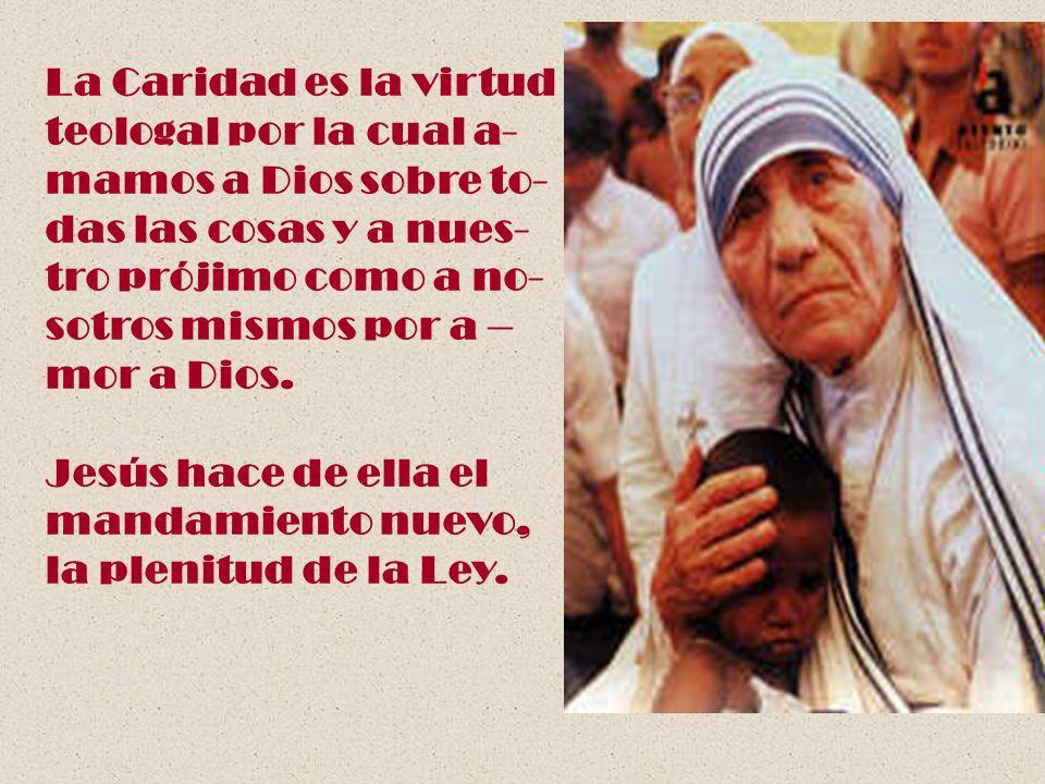 La Caridad es la virtudteologal por la cual a- mamos a Dios sobre to- das las cosas y a nues- tro prójimo como a no-