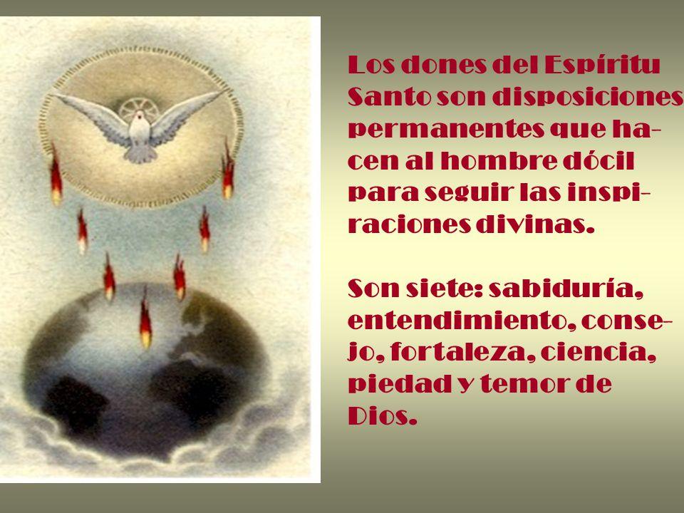 Los dones del Espíritu Santo son disposiciones. permanentes que ha- cen al hombre dócil. para seguir las inspi-