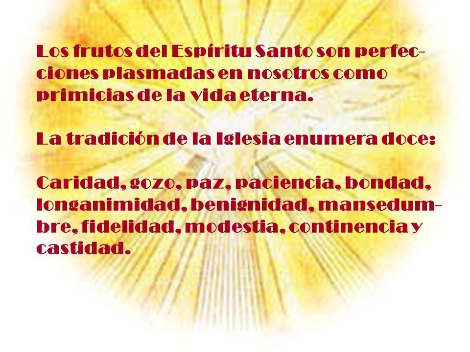 Los frutos del Espíritu Santo son perfec-