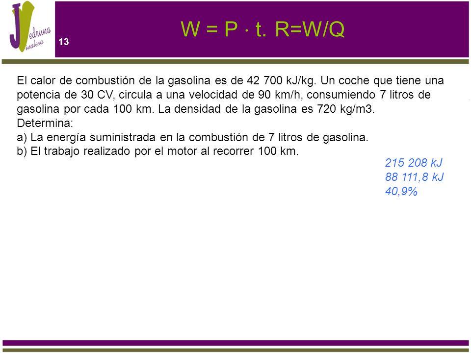 W = P ⋅ t. R=W/Q
