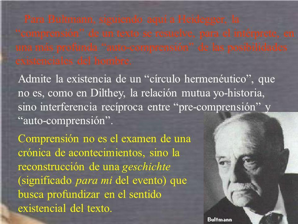 Para Bultmann, siguiendo aquí a Heidegger, la comprensión de un texto se resuelve, para el intérprete, en una más profunda auto-comprensión de las posibilidades existenciales del hombre.