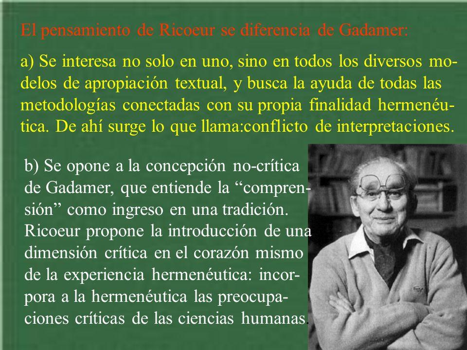 El pensamiento de Ricoeur se diferencia de Gadamer: