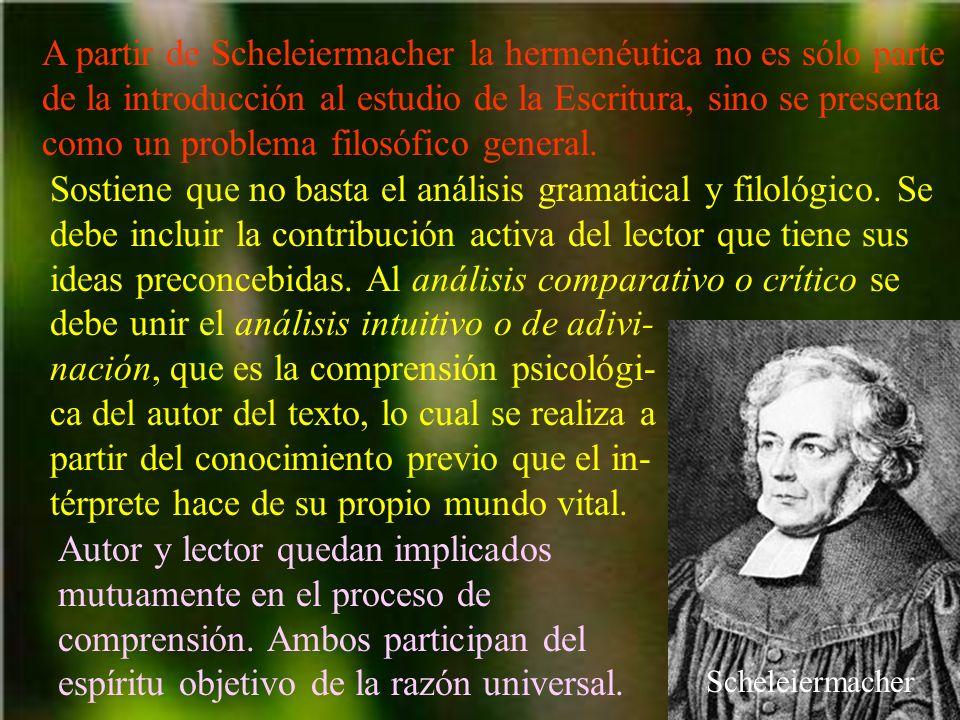 A partir de Scheleiermacher la hermenéutica no es sólo parte de la introducción al estudio de la Escritura, sino se presenta como un problema filosófico general.