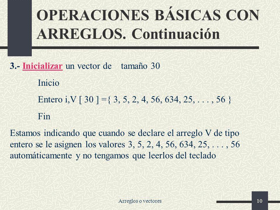 OPERACIONES BÁSICAS CON ARREGLOS. Continuación