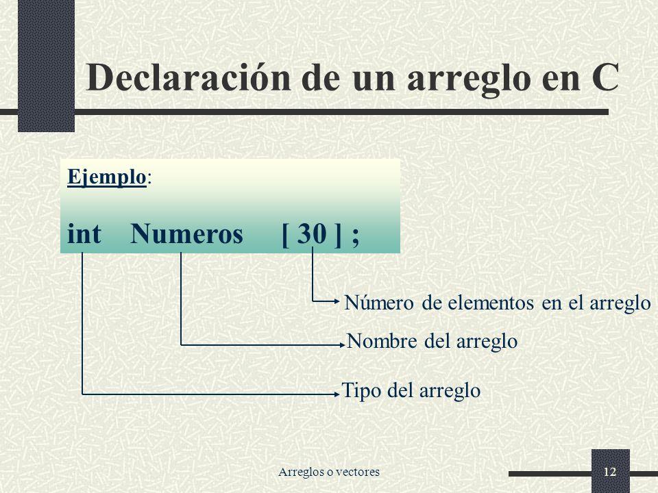 Declaración de un arreglo en C