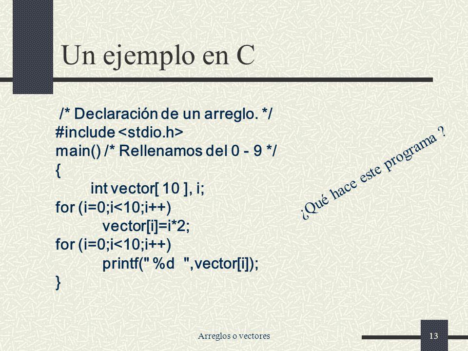 Un ejemplo en C /* Declaración de un arreglo. */