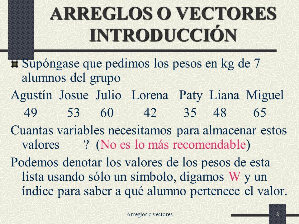 ARREGLOS O VECTORES INTRODUCCIÓN