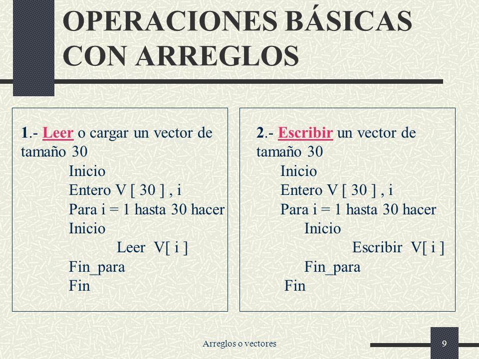 OPERACIONES BÁSICAS CON ARREGLOS