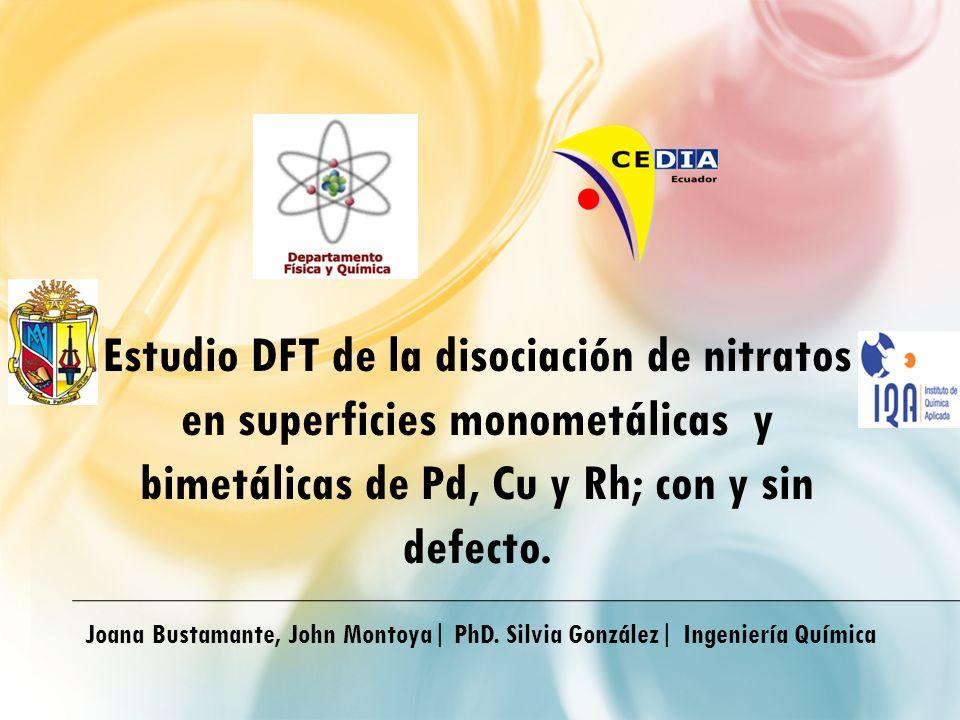 Estudio DFT de la disociación de nitratos en superficies monometálicas y bimetálicas de Pd, Cu y Rh; con y sin defecto.