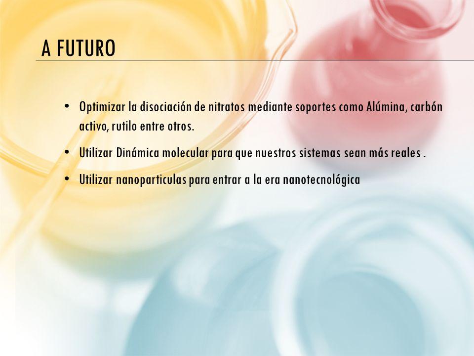 A futuroOptimizar la disociación de nitratos mediante soportes como Alúmina, carbón activo, rutilo entre otros.