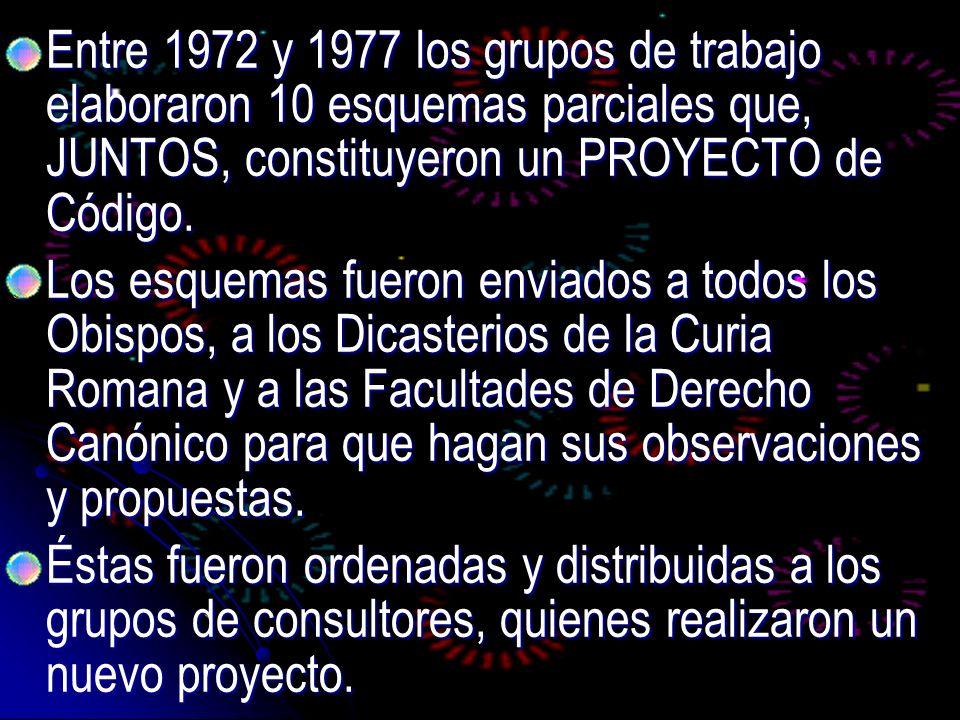 Entre 1972 y 1977 los grupos de trabajo elaboraron 10 esquemas parciales que, JUNTOS, constituyeron un PROYECTO de Código.