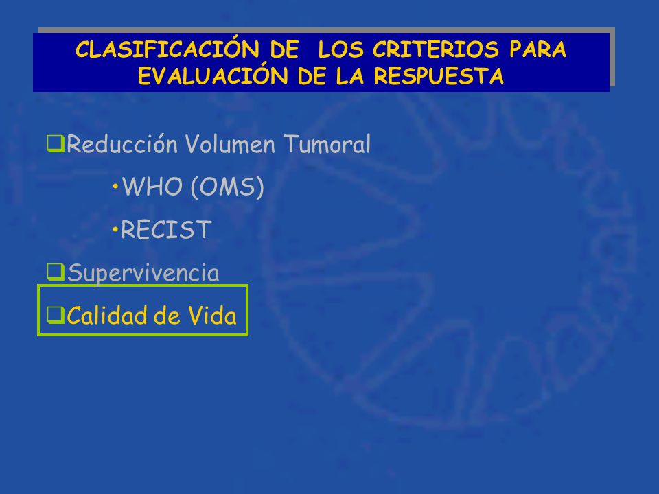 CLASIFICACIÓN DE LOS CRITERIOS PARA EVALUACIÓN DE LA RESPUESTA