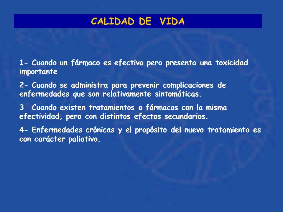 CALIDAD DE VIDA 1- Cuando un fármaco es efectivo pero presenta una toxicidad importante.