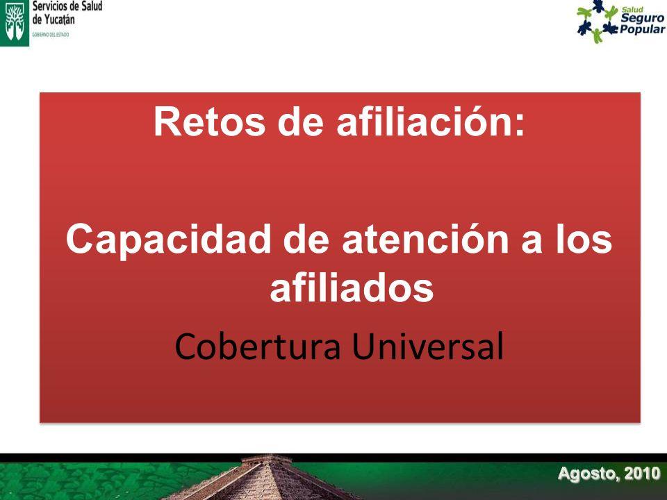 Retos de afiliación: Capacidad de atención a los afiliados Cobertura Universal
